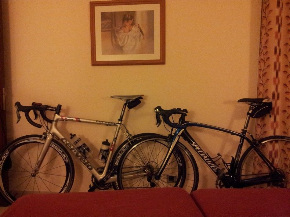 Mine and Maurice's bikes ready to ride